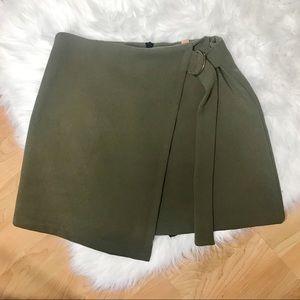 Olive green side buckle wrap skirt